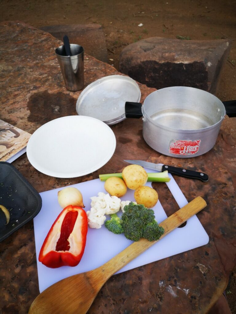 Cooking my dinner at the campsite of Quivertree Forest